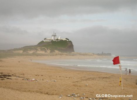 Newcastle beach and lighthouse