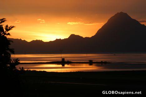Postcard Sunset On Moorea Mount Tohiea