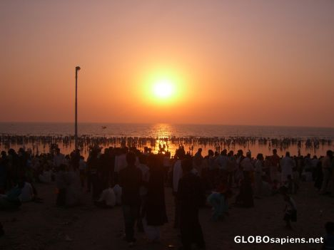Juhu chowpatty beach at sunset