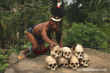 A Naga Warrior with his Trophies (Mon, Nagaland)