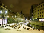 The river that runs through Aarhus city after hours.
