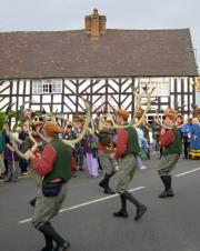 The Horn Dance being performed outside The Goats Head pub just after 8.00am