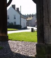 View from under the ancient Buttercross towards High Street, Abbots Bromley
