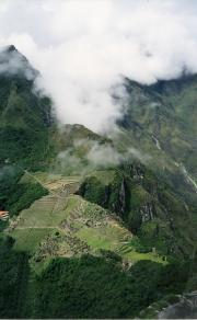 Looking down from the top of Wayna Picchu - very high!