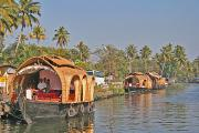 Houseboats moored along the canal in Alleppey