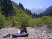 Me camping in Medeu facing Shymbulak