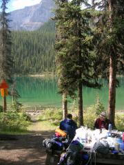 Luellen Lake and our messy dinner table.