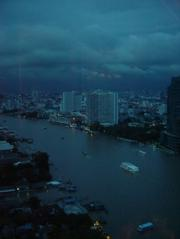 View of the Chao Phraya River at night from the Peninsular Hotel