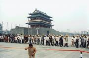View of People waiting for the entry to Mao's mausoleum, in the background the line goes on