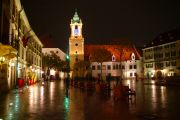Hlavne Nameste, the main square of the Old Town, at night.