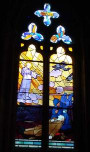Treguir Cathedral commemorates the dead of World War 1 amongst its stained glass windows