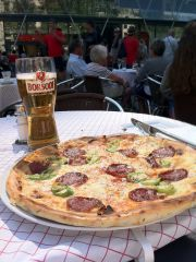 Pizza and lager at the Atrium Cafe.