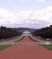View from the War Memorial of Old Parliament House with the New Parliament House behind.