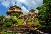 Cebu's Taoist Temple is center for Taoism worship. Passage way is replica of the Great Wall of China