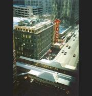 The Chicago Theater from our hotel window