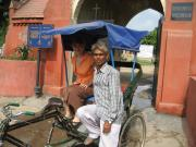 Lila with our Rickshaw Driver