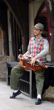 Breton street musician in the old town