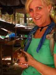 A baby coatimundi we discovered foraging through the kitchen at Nakbe.