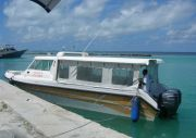 The boat to Foammulah, departing from Gan, in Addu Atoll