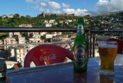 The First Bar, on the top of Hotel First, with a view of the old town and the fortress.