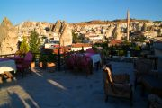 The top terrace of the Manzara Restaurant overlooking the main part of Göreme.