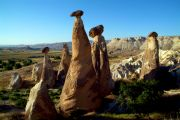 Fairy chimneys at the village of Cavusin (4km from Goreme), at sunset.