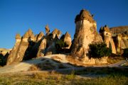 Pasabagi, a cluster of interesting three-headed fairy chimneys, at sunset.