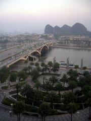 View from our hotel window. City of Guilin.