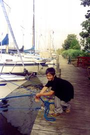 Our nephew playing with the yachts