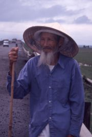 The old man who watched over the ducks in the rice field.