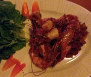 Grilled king prawns at Vanila Restaurant