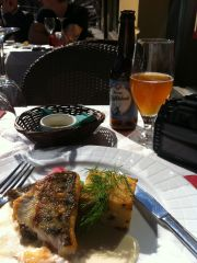 Grilled white fish and the Keisari EloWehnä wheat beer at the Aino restaurant