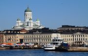 Helsinki's Market Square seen from the sea, the Cathedral looming in the back.