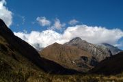 Huascaran (right) and Huandoy (left) behind the clouds