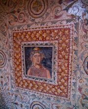 The House of Amphitrite - the young man mosaic in the hallway.