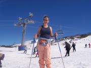 Lisa skiing with a singlet on - it was hot!!