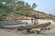 Fishermen and their kettumarans.