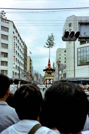 Shrine wagons on parade at Kyoto's Gion Matsuri festival in July.