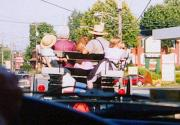 An Amish family, in their buggy