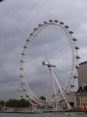 The London Eye, with a brooding sky in the background.