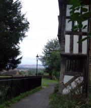 View of Housmans rolling Shropshire countryside from St. Lawrence's churchyard