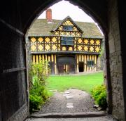 The Manor House from inside the Great Hall studded door