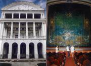 Facade and curtain of the Manaus Opera House
