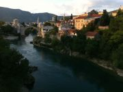 View of Mostar from the Lucki Bridge at sunset.