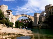 Mostar's Old Bridge, photographed from the southern side.