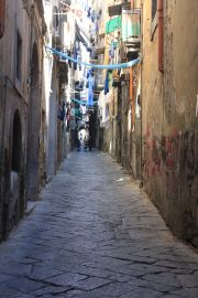 Tipical small streets in the historical center of Naples, Via S. Biagio dei Librai