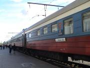 View of the train from the platform in Orsha.