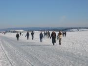 People are walking on the Frozen Sea