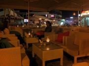 Resto Piazza's pavement lounge at night.
