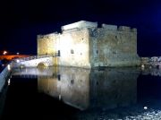 Pafos's old castle in the old harbour at night.